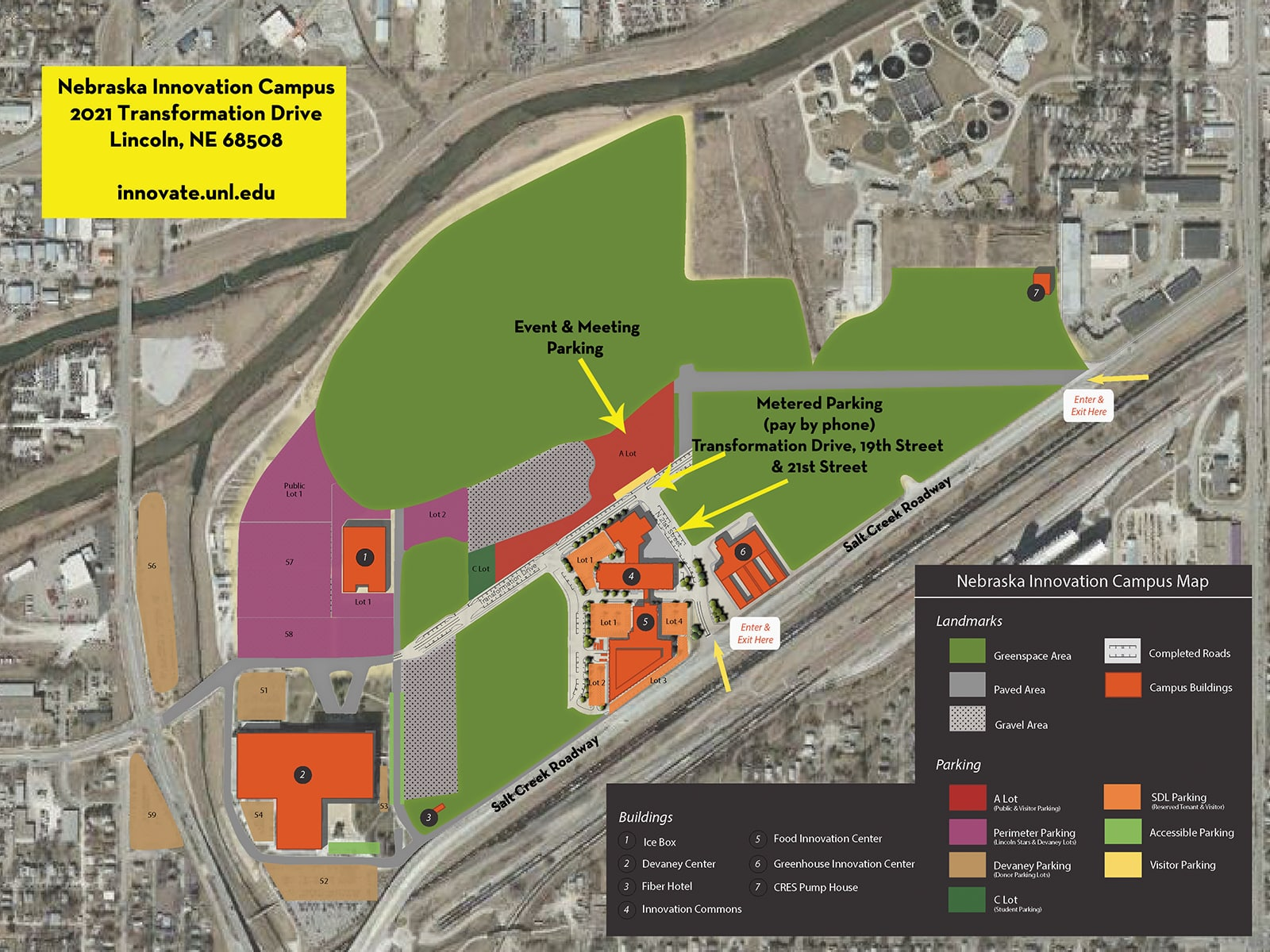 Parking map for Nebraska Innovation Campus