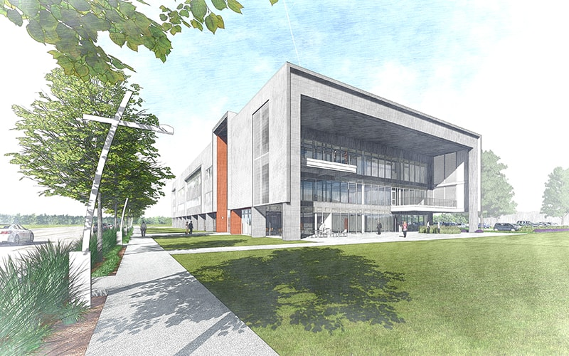 Rendering of north view of building, SDL3