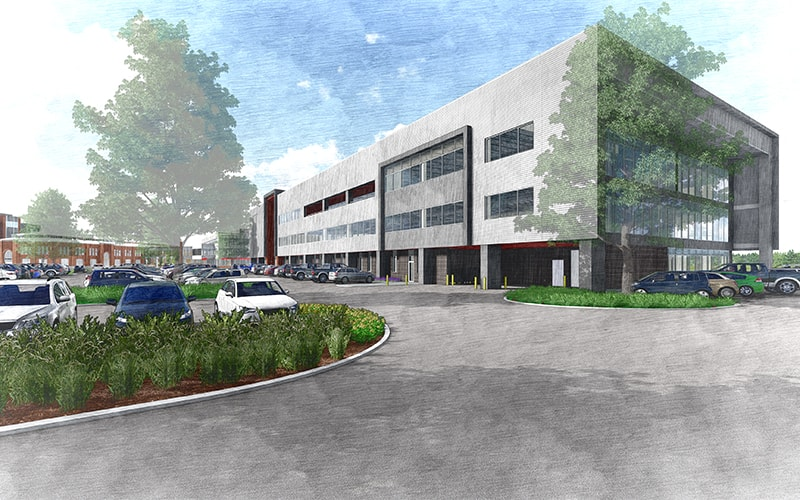 Rendering of south view of building, SDL3