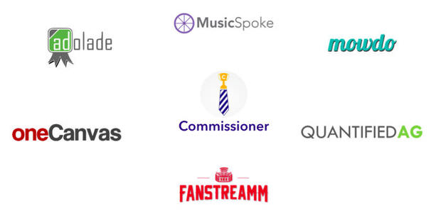 Logos of NMotion's 2014 class of startup businesses.