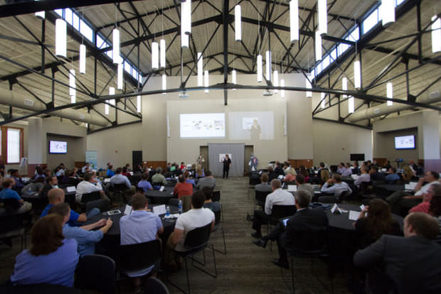 More than 300 people attended demo day at Innovation Campus for the 2014 class of companies guided by NMotion, the University of Nebraska startup accelerator.