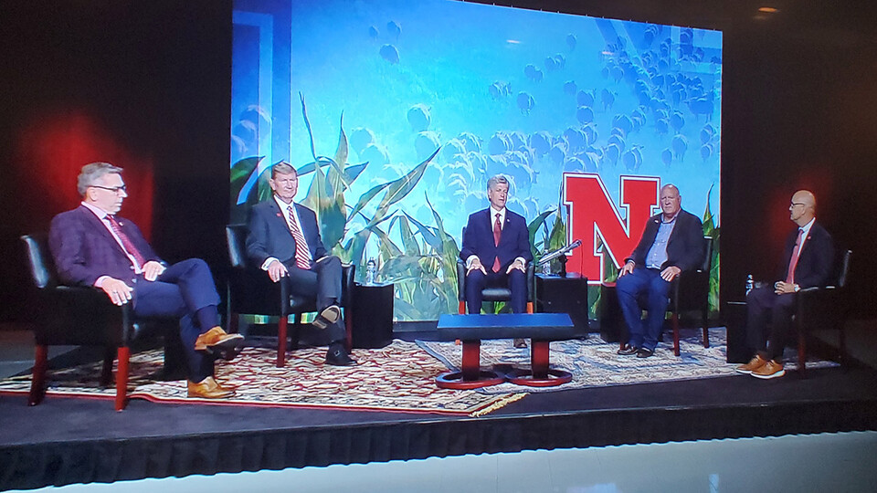 """(From left) University of Nebraska–Lincoln Chancellor Ronnie Green, NU President Ted Carter, Rep. Jeff Fortenberry, Rep. Glenn """"GT"""" Thompson and NU Vice President and Harlan Vice Chancellor for UNL's Institute of Agriculture and Natural Resources Mike Boehm participate in an Aug. 20 tele-town hall on the future of agriculture."""