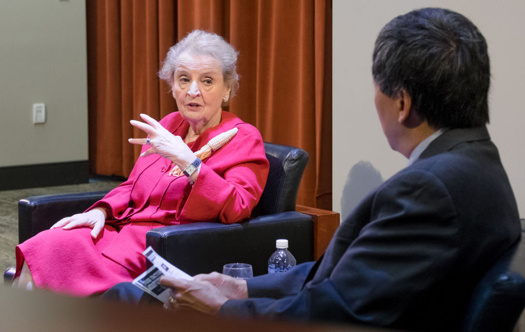 "Former U.S. Secretary of State Madeleine Albright was at the University of Nebraska's Innovation Campus on Monday as the keynote speaker for the Food Factory of the Future conference. ""We need every available voice speaking up for a better future,"" she said."