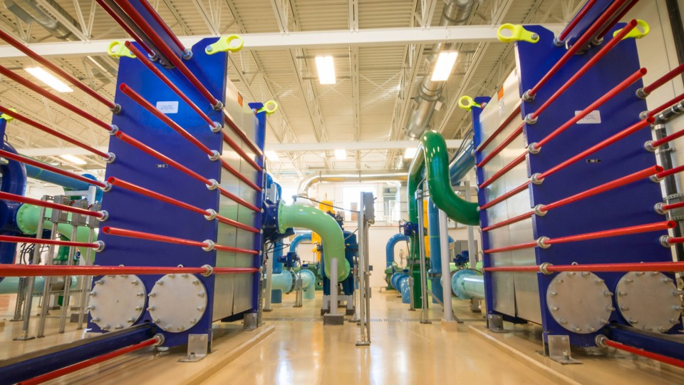 The Centralized Renewable Energy System, or CRES, at Nebraska Innovation Campus is expected to practically eliminate the need for natural gas for winter heating and will reduce electricity consumption for summer cooling by 25 percent.