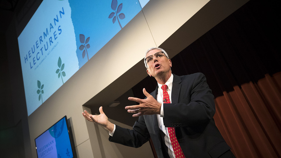 Donnie Smith, former president and CEO of Tyson Foods, speaks about global food security during the Heuermann Lecture Jan. 9 at Nebraska Innovation Campus.