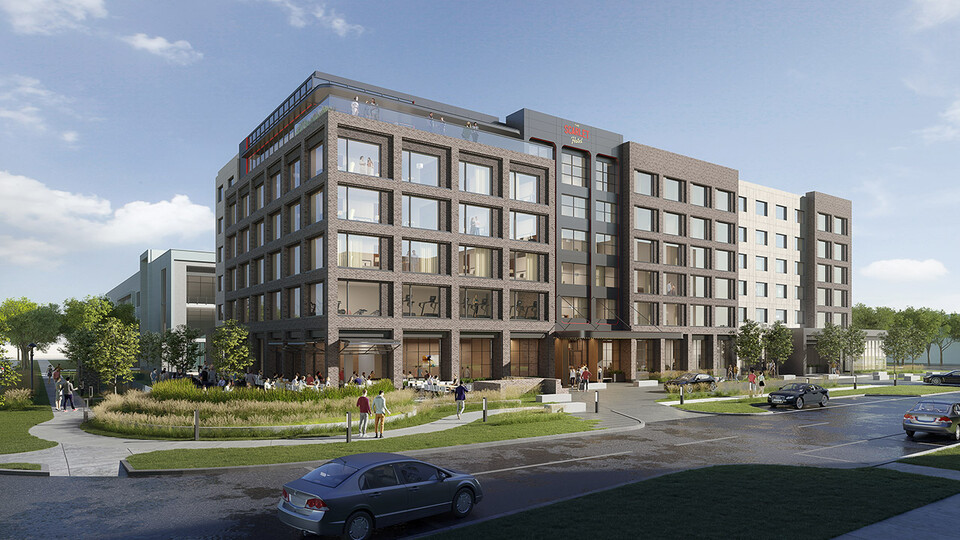An architect's rendering of The Scarlet hotel under construction at Nebraska Innovation Campus.