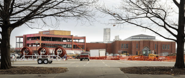 The Companion Building (left) to the former 4-H building is taking shape on Nebraska Innovation Campus as seen in this view looking east from the site of the old State Fair administration building.