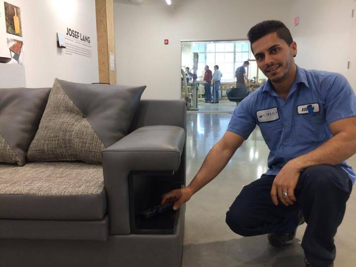 Koosha Mooghen Dastgerdi is a furniture maker who immigrated to the U.S. from Iran in 2014. He now designs and creates furniture at the Innovation Studio on the University of Nebraska-Lincoln campus. (Photo by Ben Bohall, NET News)