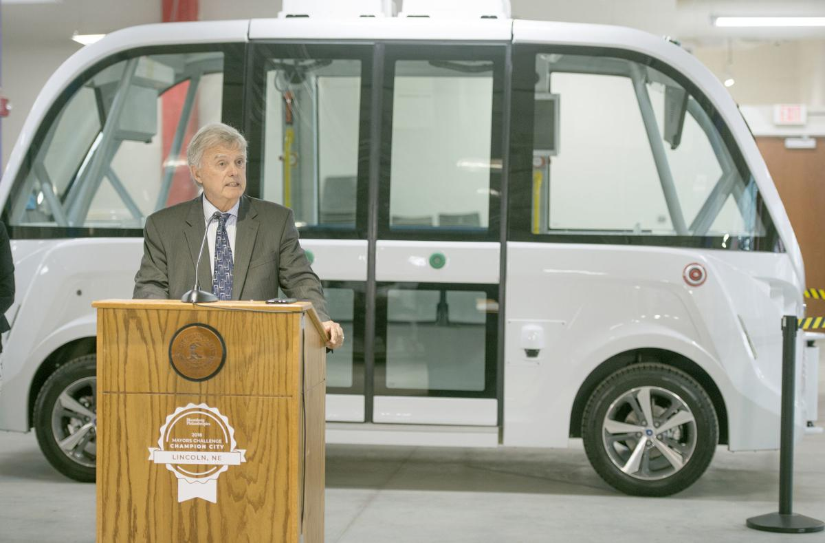 Mayor Chris Beutler spoke during a news conference Wednesday at Nebraska Innovation Studio announcing the arrival of a driverless shuttle.