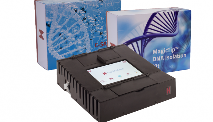 Solas 8 device and the two kits (MagicTip kits for DNA and C-SAND kits for tests) sold by MatMaCorp