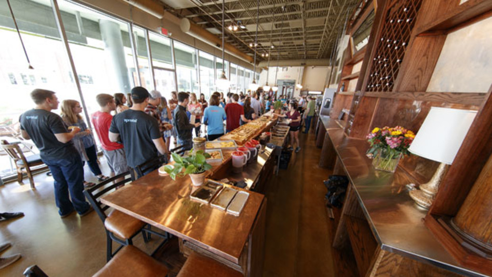 Members of NIC partner Spreetail check out The Mill Coffee & Bistro on June 7. The new restaurant -- the first for Nebraska Innovation Campus -- opens to the public June 12. Craig Chandler | University Communication