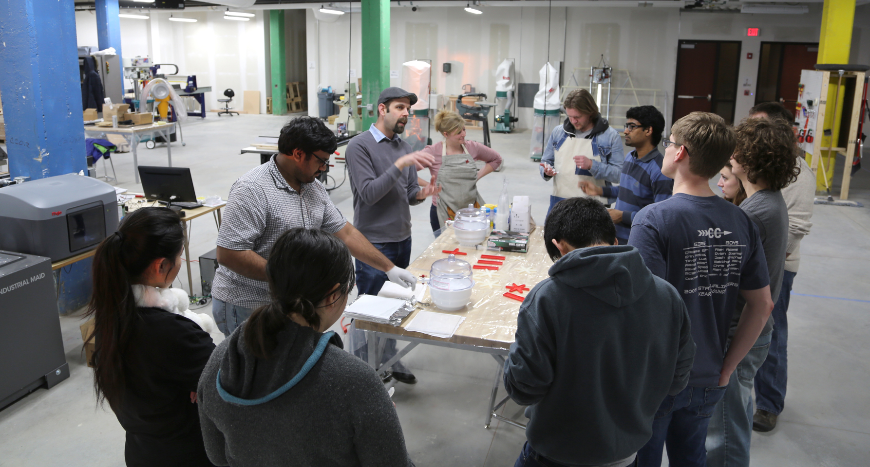 Students listen to a presentation led by Stephen Morin, assistant professor of chemistry, in Nebraska Innovation Studio. A grant from the Cooper Foundation will expand the maker space, which is located at Nebraska Innovation Campus.