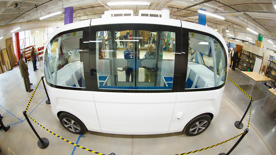 A self-driving shuttle, the first of its kind in Nebraska, will temporarily reside at Nebraska Innovation Campus and provide rides to the public in July.