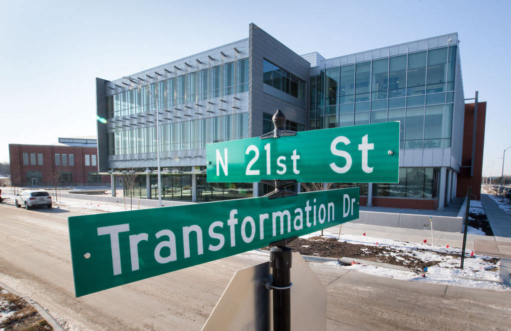 Street signs on the Nebraska Innovation Campus at 21st and Transformation Drive in Lincoln, Nebraska, on Nov. 20, 2014.