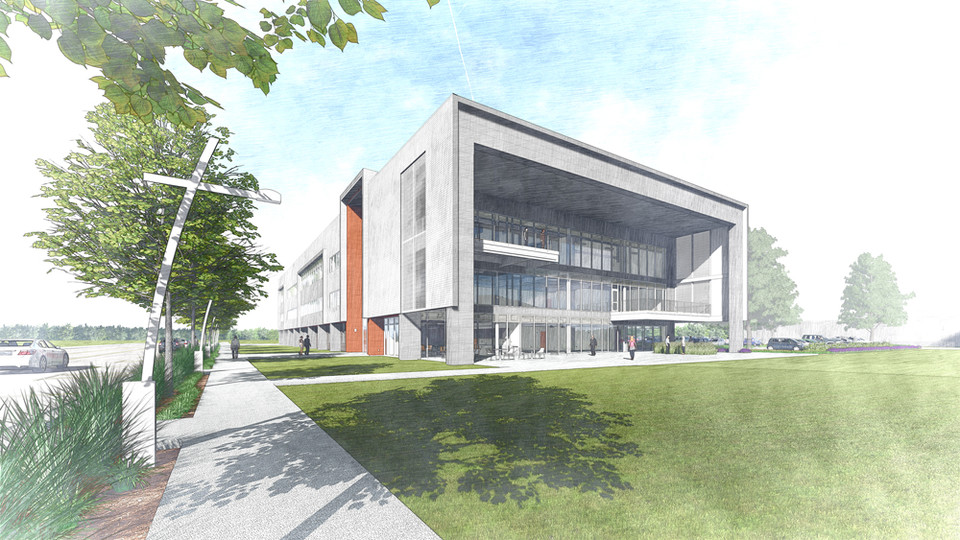 A new three-story, 80,000-square-foot building at Nebraska Innovation Campus will feature a business incubator and common spaces built to spur collaboration. The area around the building also will include a community garden and space for outdoor activities.