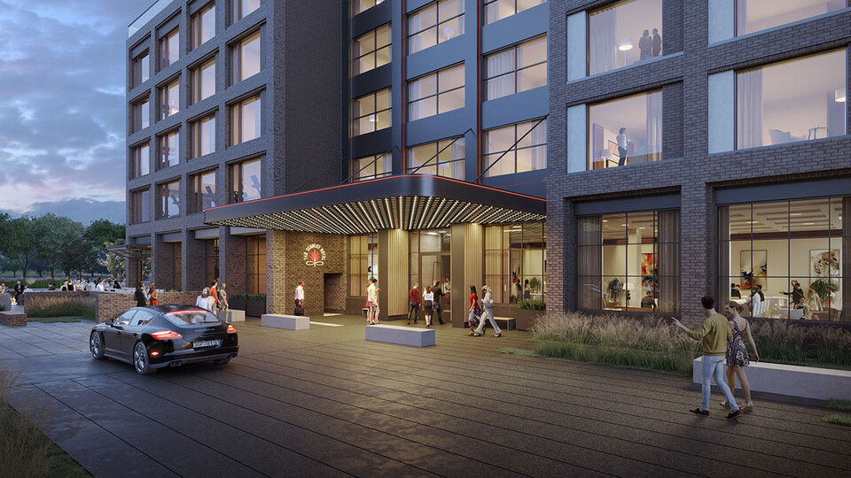 A rendering of The Scarlet Hotel, which will become the only hotel on campus when it opens in July 2021.