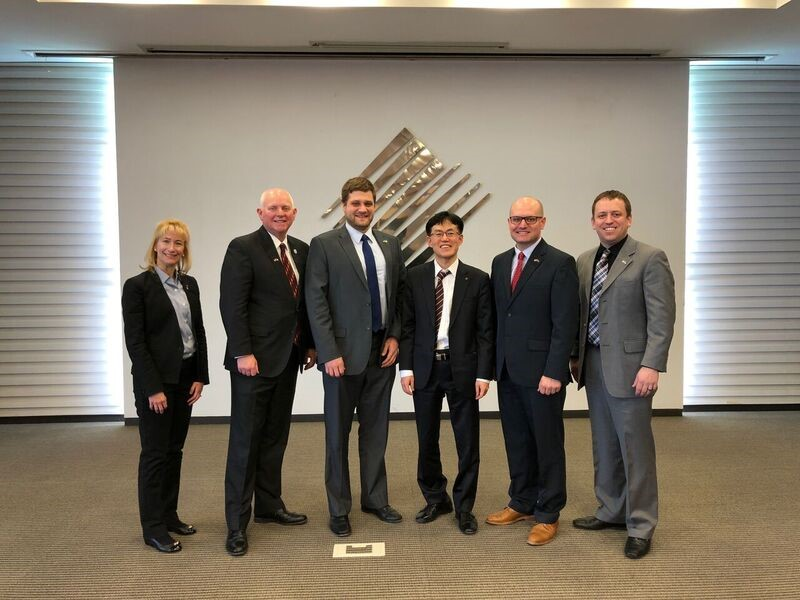 From left to right: Ann Willet (Nebraska Innovation Campus), Dan Duncan (Nebraska Innovation Campus), Cobus Block (DED), Dr. Austin Chang (Korea International Trade Assoc. Director), Walker Zulkoski (NGage), and Luke Peltz (Lincoln Partnership for Economic Development) met to discuss ways to promote business-to-business meetings for Nebraskan and Korean companies.