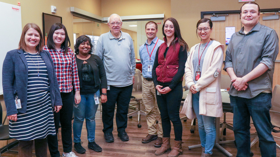 Faculty and graduate students from the Food Allergy Research and Resource Program include (from left) Melanie Downs, Shimin Chen, Bini Ramachandran, Steve Taylor, Joe Baumert, Abigail Burrows, Wanying Cao and Lee Palmer.