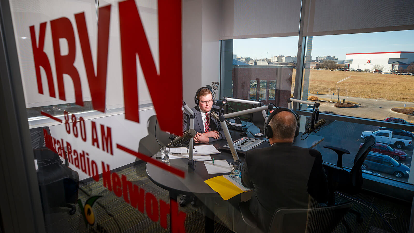Guest being interviewed in KRVN studio
